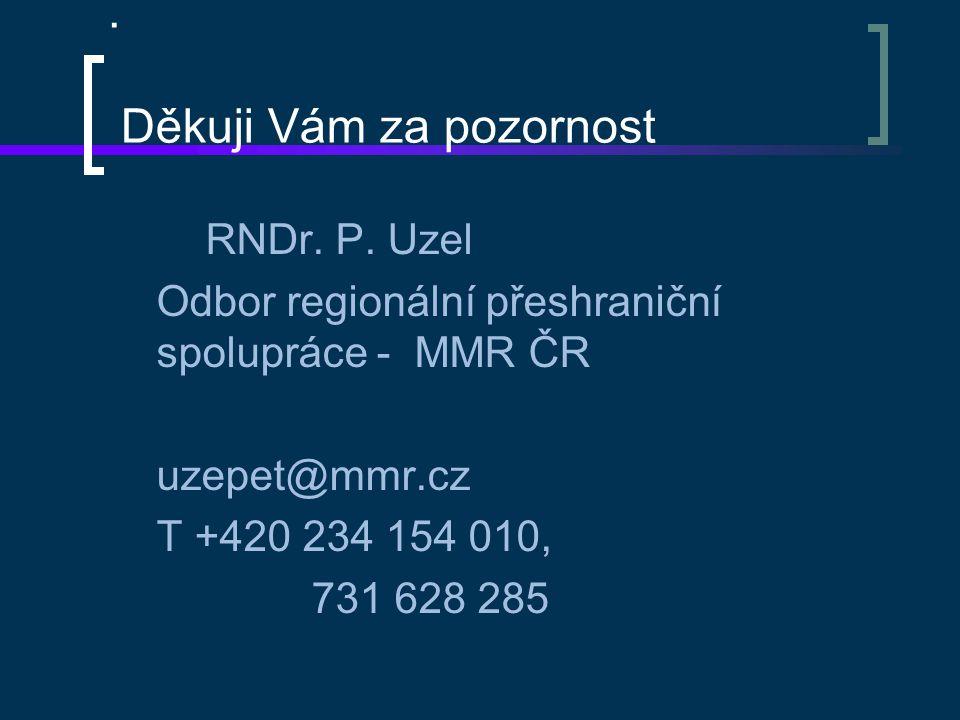 . Děkuji Vám za pozornost RNDr. P. Uzel Odbor regionální přeshraniční spolupráce - MMR ČR uzepet@mmr.cz T +420 234 154 010, 731 628 285
