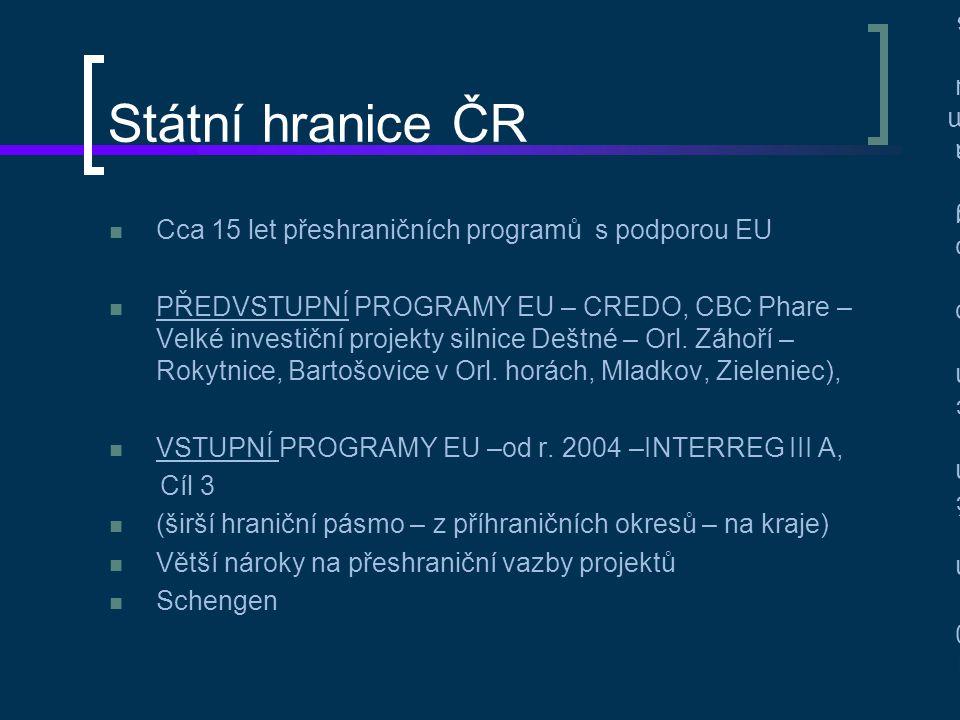 Státní hranice ČR Cca 15 let přeshraničních programů s podporou EU PŘEDVSTUPNÍ PROGRAMY EU – CREDO, CBC Phare – Velké investiční projekty silnice Dešt
