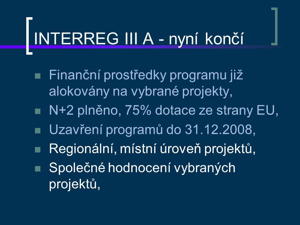 INTERREG III A - nyní končí Finanční prostředky programu již alokovány na vybrané projekty, N+2 plněno, 75% dotace ze strany EU, Uzavření programů do