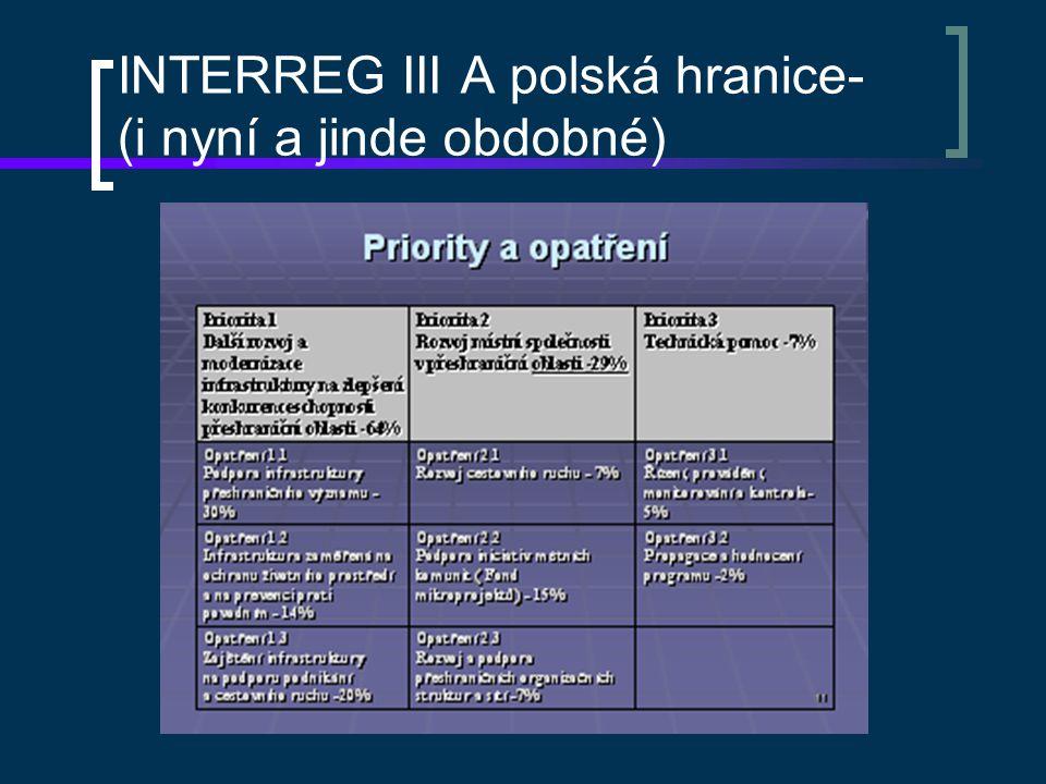 Základní struktury programů Řídící orgán - MMR ČR-OPS (pouze polská hranice) Národní orgán – MRR PR-OÚS (pro ostatní hranice-MMR ČR) Společný technický sekretariát – na Polsko JTS Olomouc, (ostatní v zahraničí) Regionální subjekty – krajské a (v Polsku) maršálkovské úřady Task – force-krajské, v Pol.
