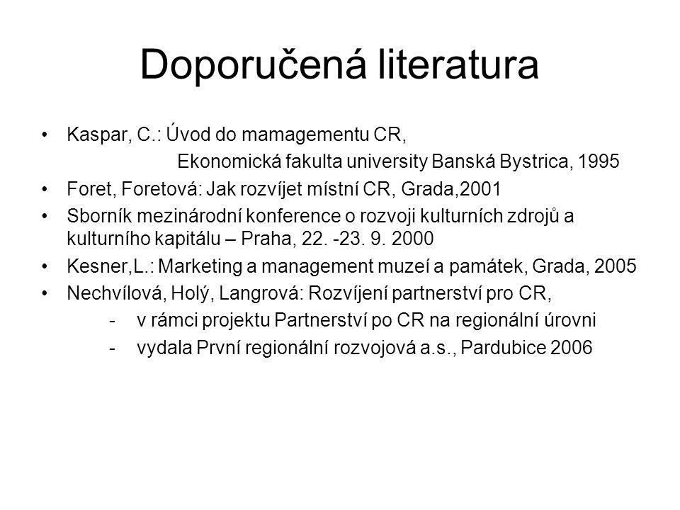Doporučená literatura Kaspar, C.: Úvod do mamagementu CR, Ekonomická fakulta university Banská Bystrica, 1995 Foret, Foretová: Jak rozvíjet místní CR,