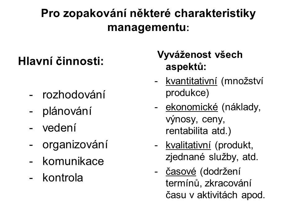 Pro zopakování některé charakteristiky managementu : Hlavní činnosti: - rozhodování - plánování - vedení - organizování - komunikace - kontrola Vyváže