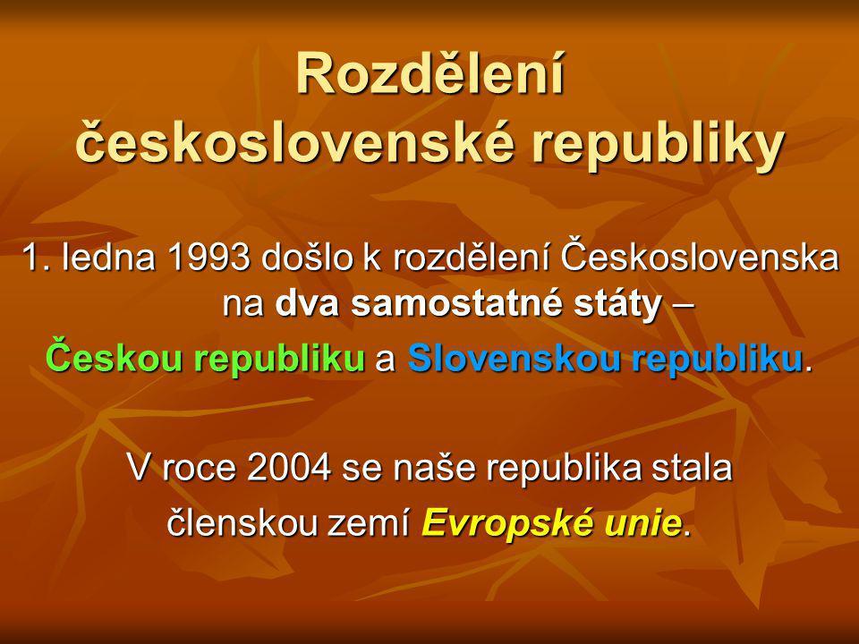 Mapa Československa 1969 - 1990