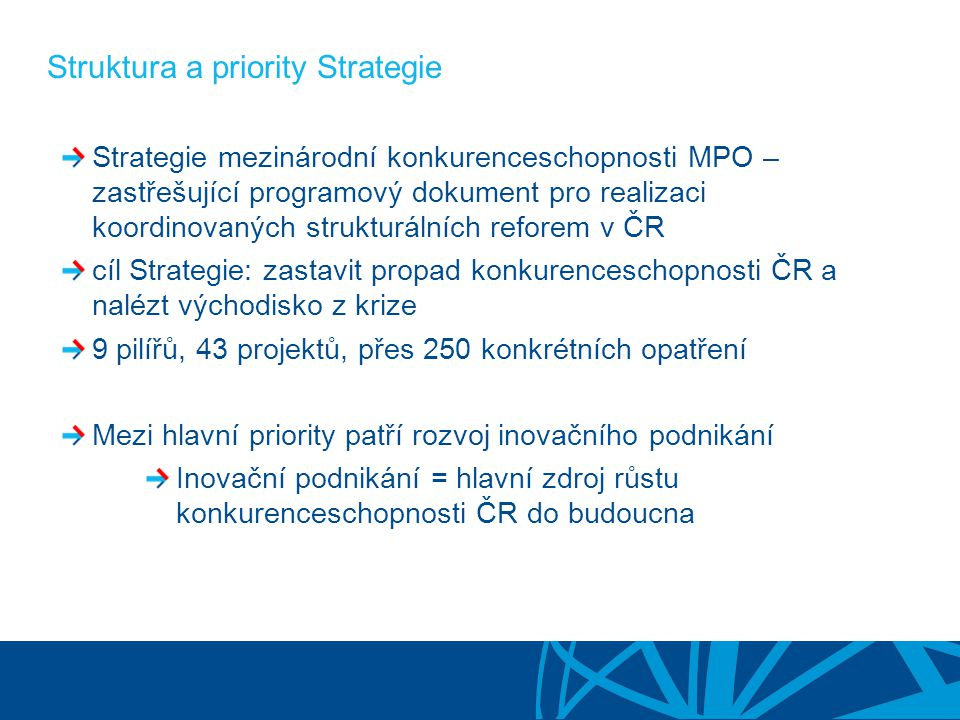 Struktura a priority Strategie Strategie mezinárodní konkurenceschopnosti MPO – zastřešující programový dokument pro realizaci koordinovaných strukturálních reforem v ČR cíl Strategie: zastavit propad konkurenceschopnosti ČR a nalézt východisko z krize 9 pilířů, 43 projektů, přes 250 konkrétních opatření Mezi hlavní priority patří rozvoj inovačního podnikání Inovační podnikání = hlavní zdroj růstu konkurenceschopnosti ČR do budoucna