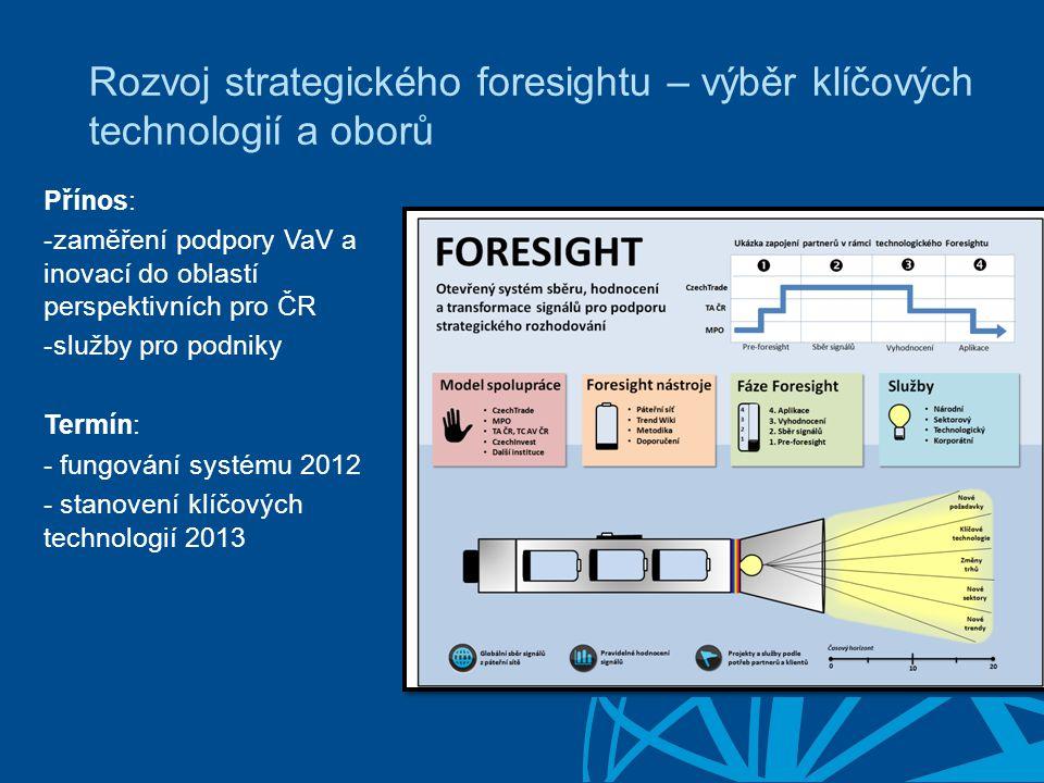 Rozvoj strategického foresightu – výběr klíčových technologií a oborů Přínos: -zaměření podpory VaV a inovací do oblastí perspektivních pro ČR -služby pro podniky Termín: - fungování systému 2012 - stanovení klíčových technologií 2013