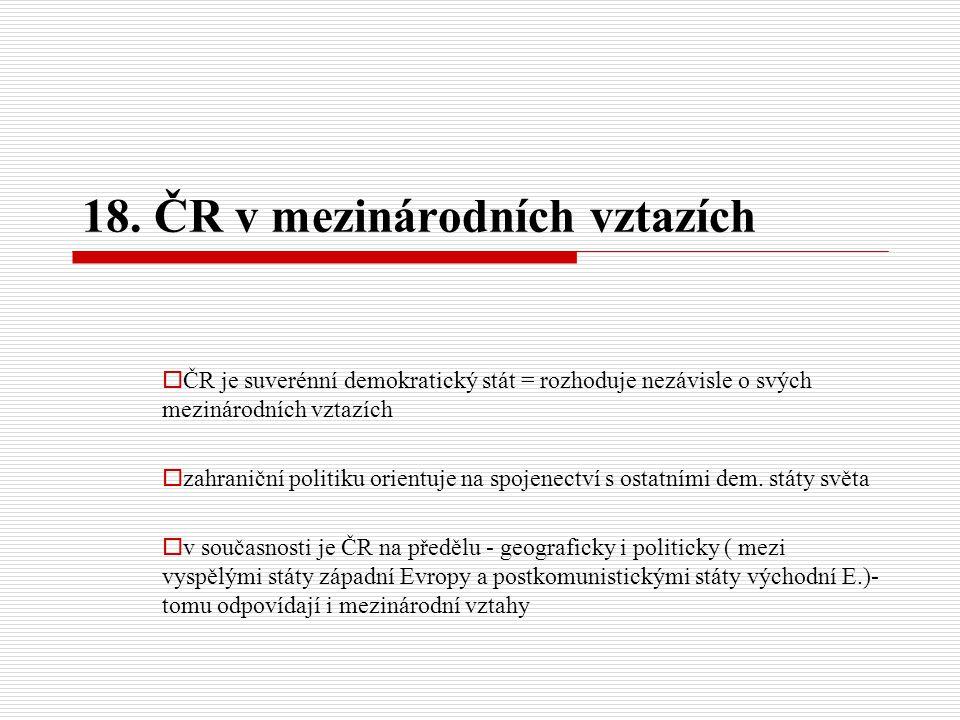 ČR v mezinárodních vztazích  orientace na státy, které jsou nám kulturně, politicky a hospodářsky nejbližší: Slovensko státy tzv.