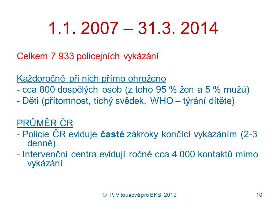 © P. Vitoušová pro BKB, 201210 1.1. 2007 – 31.3. 2014 Celkem 7 933 policejních vykázání Každoročně při nich přímo ohroženo - cca 800 dospělých osob (z