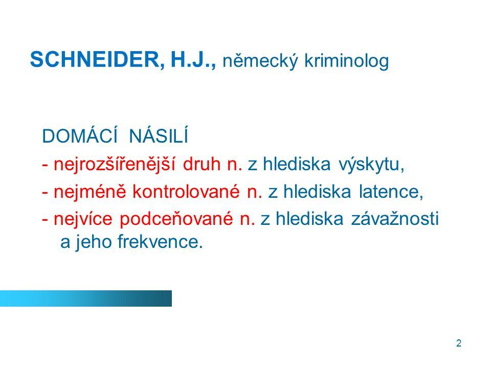 2 SCHNEIDER, H.J., německý kriminolog DOMÁCÍ NÁSILÍ - nejrozšířenější druh n. z hlediska výskytu, - nejméně kontrolované n. z hlediska latence, - nejv