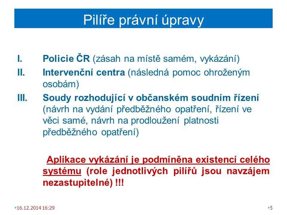 Pilíře právní úpravy I.Policie ČR (zásah na místě samém, vykázání) II.Intervenční centra (následná pomoc ohroženým osobám) III.Soudy rozhodující v občanském soudním řízení (návrh na vydání předběžného opatření, řízení ve věci samé, návrh na prodloužení platnosti předběžného opatření) Aplikace vykázání je podmíněna existencí celého systému (role jednotlivých pilířů jsou navzájem nezastupitelné) !!.