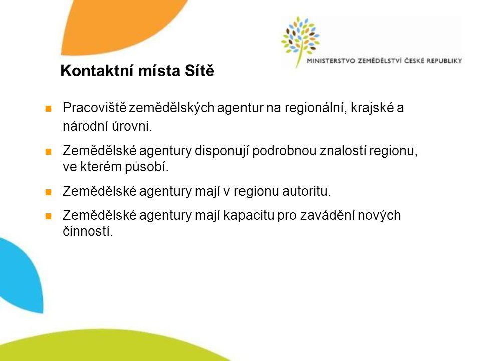 Kontaktní místa Sítě Národní pracoviště Ministerstva zemědělství ČR Krajská pracoviště zemědělských agentur Regionální pracoviště zemědělských agentur