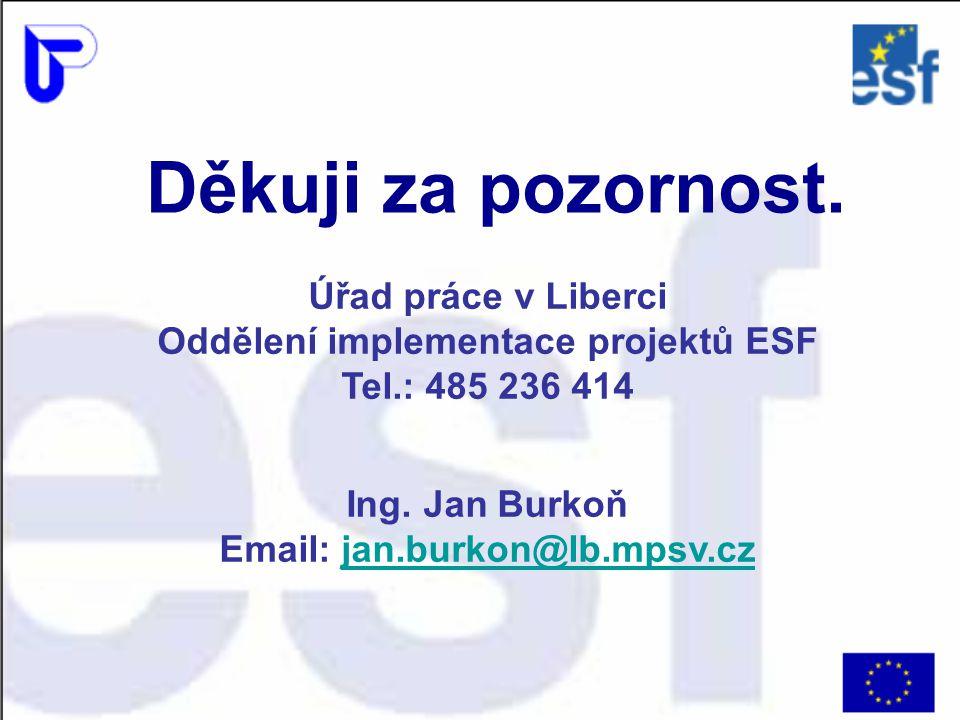 Děkuji za pozornost. Úřad práce v Liberci Oddělení implementace projektů ESF Tel.: 485 236 414 Ing. Jan Burkoň Email: jan.burkon@lb.mpsv.czjan.burkon@