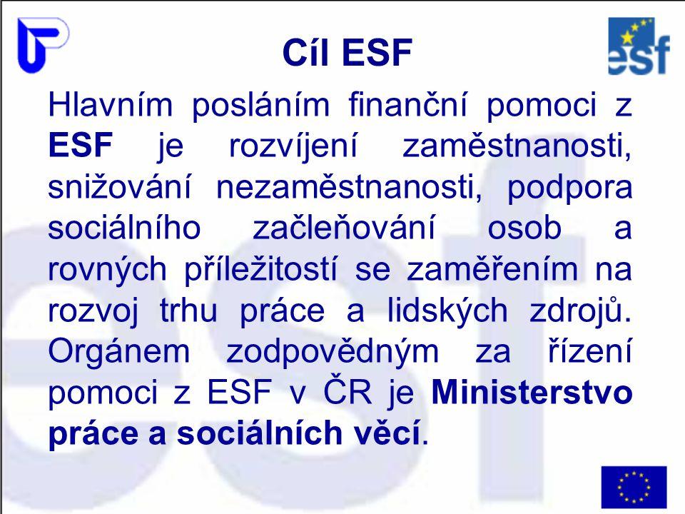 Hlavním posláním finanční pomoci z ESF je rozvíjení zaměstnanosti, snižování nezaměstnanosti, podpora sociálního začleňování osob a rovných příležitos