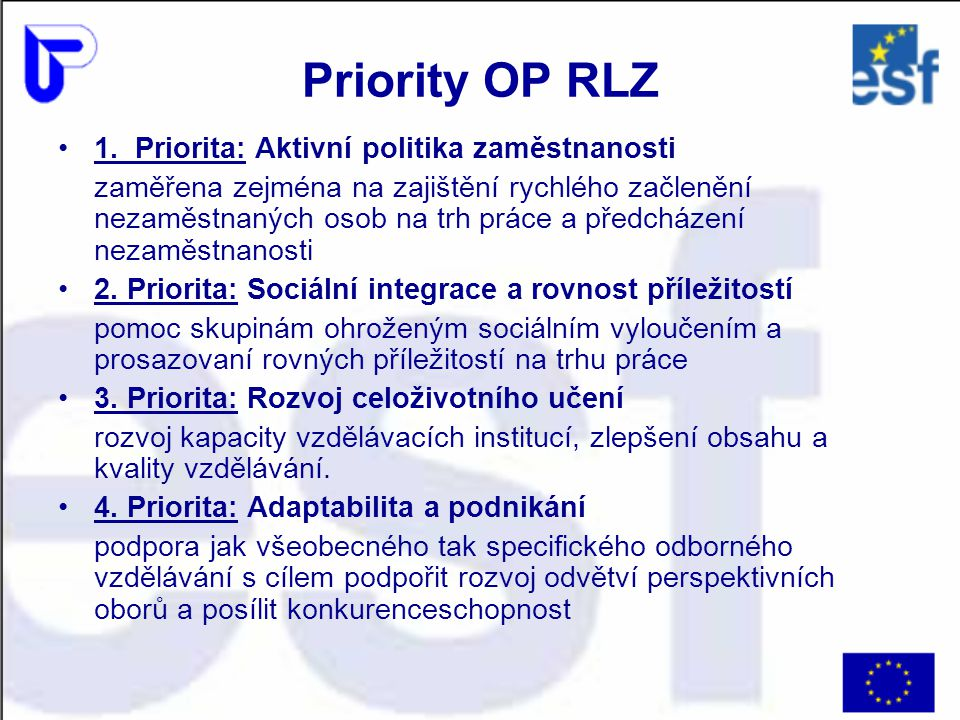 Priority OP RLZ 1. Priorita: Aktivní politika zaměstnanosti zaměřena zejména na zajištění rychlého začlenění nezaměstnaných osob na trh práce a předch