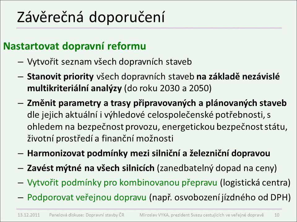 Závěrečná doporučení Nastartovat dopravní reformu – Vytvořit seznam všech dopravních staveb – Stanovit priority všech dopravních staveb na základě nez