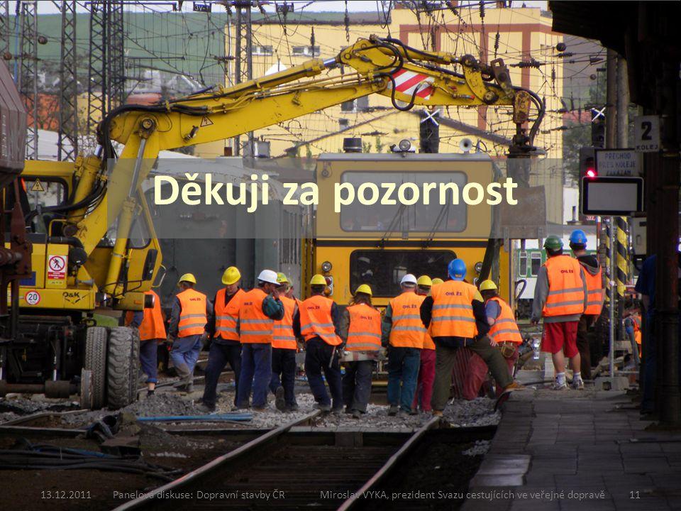 Děkuji za pozornost 13.12.2011Panelová diskuse: Dopravní stavby ČR Miroslav VYKA, prezident Svazu cestujících ve veřejné dopravě11