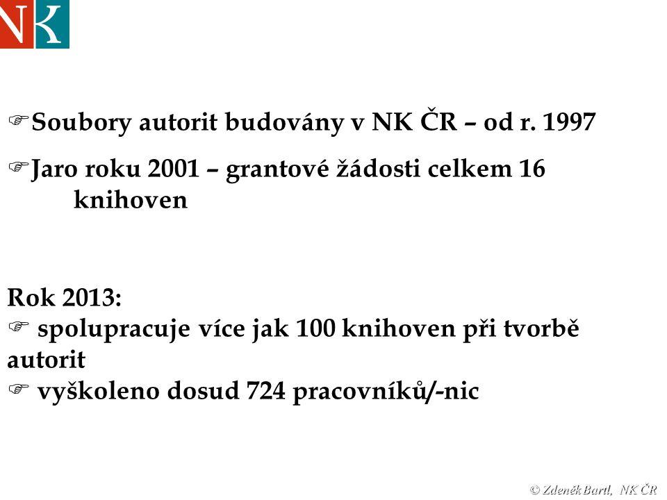  Soubory autorit budovány v NK ČR – od r.