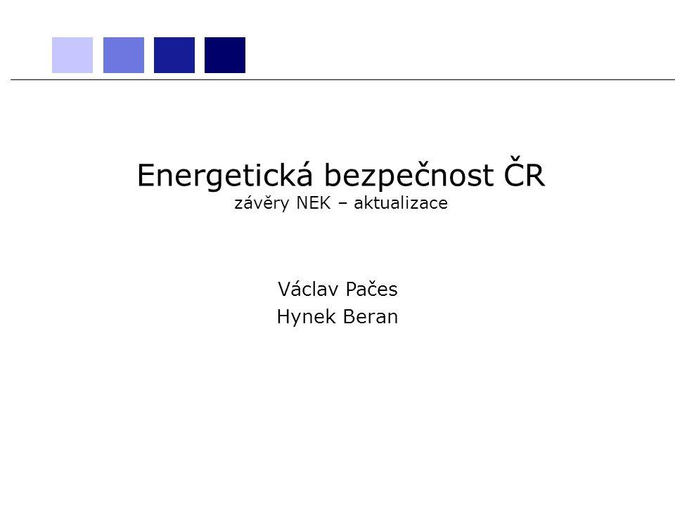 Energetická bezpečnost ČR závěry NEK – aktualizace Václav Pačes Hynek Beran