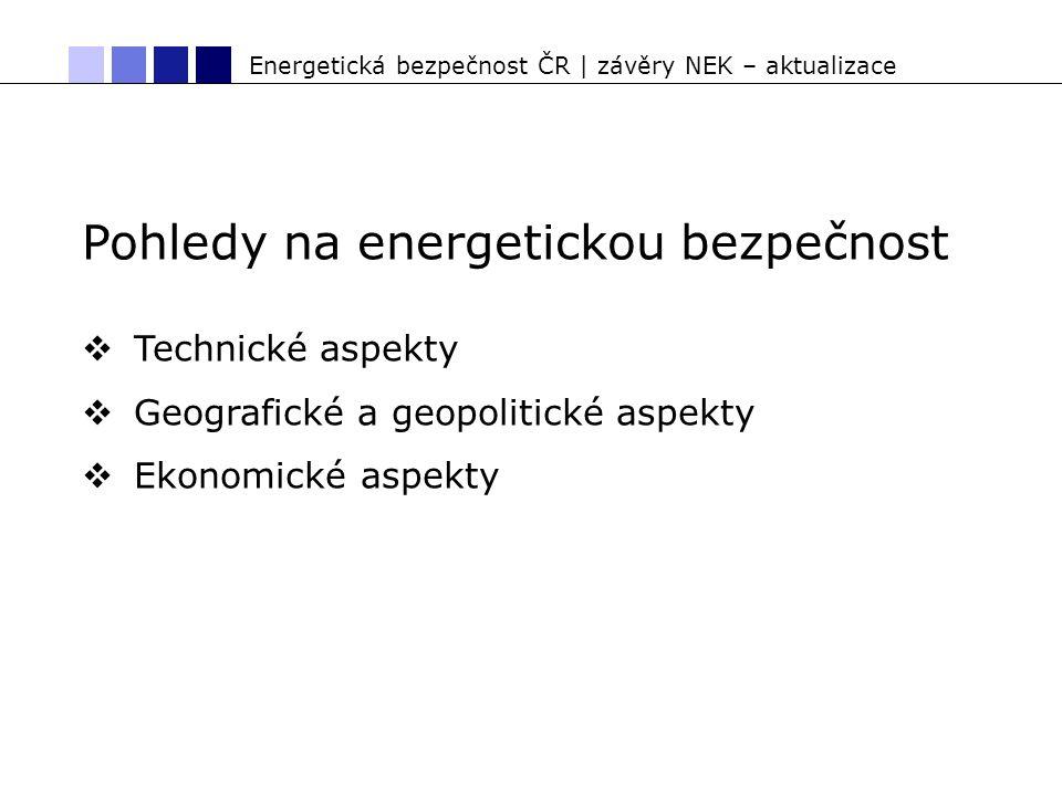 Energetická bezpečnost ČR | závěry NEK – aktualizace Pohledy na energetickou bezpečnost  Technické aspekty  Geografické a geopolitické aspekty  Ekonomické aspekty