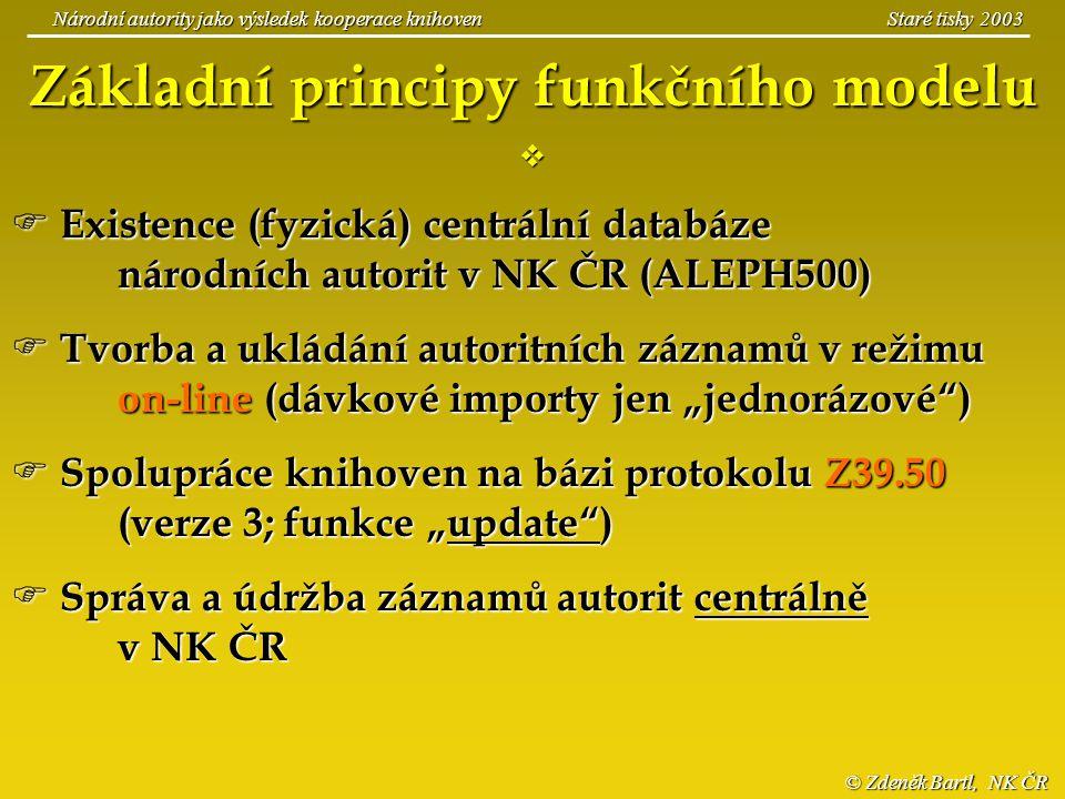 © Zdeněk Bartl, NK ČR Národní autority jako výsledek kooperace knihoven Staré tisky 2003 Základní principy funkčního modelu   Existence (fyzická) ce