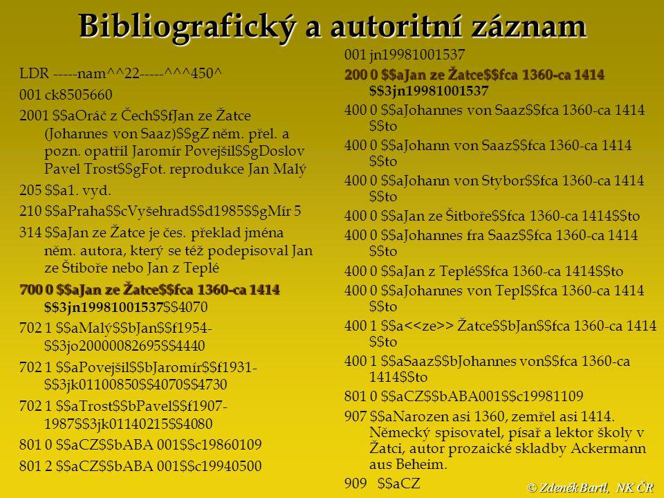 3 a utority versus A utority bibliografický záznam autoritní záhlaví (přístupové rejstříky) autoritní záznam Národní autority jako výsledek kooperace knihoven Staré tisky 2003