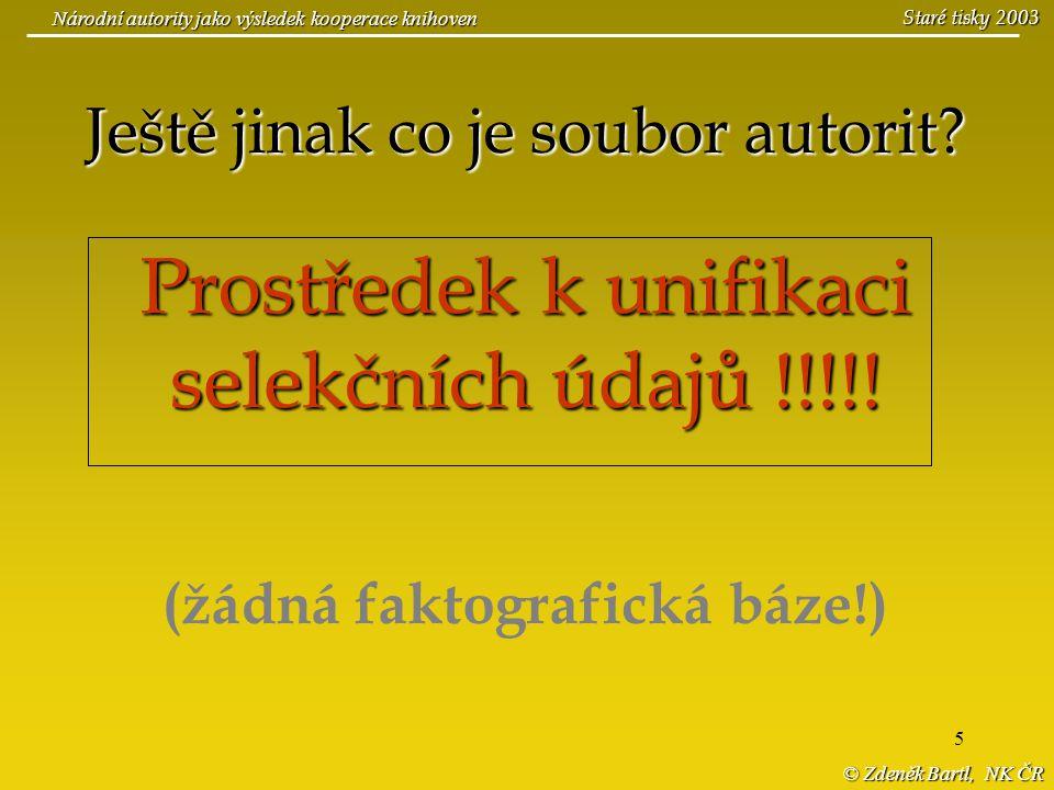 © Zdeněk Bartl, NK ČR Národní autority jako výsledek kooperace knihoven Staré tisky 2003 (Soubory autorit budovány v NK ČR – od r.