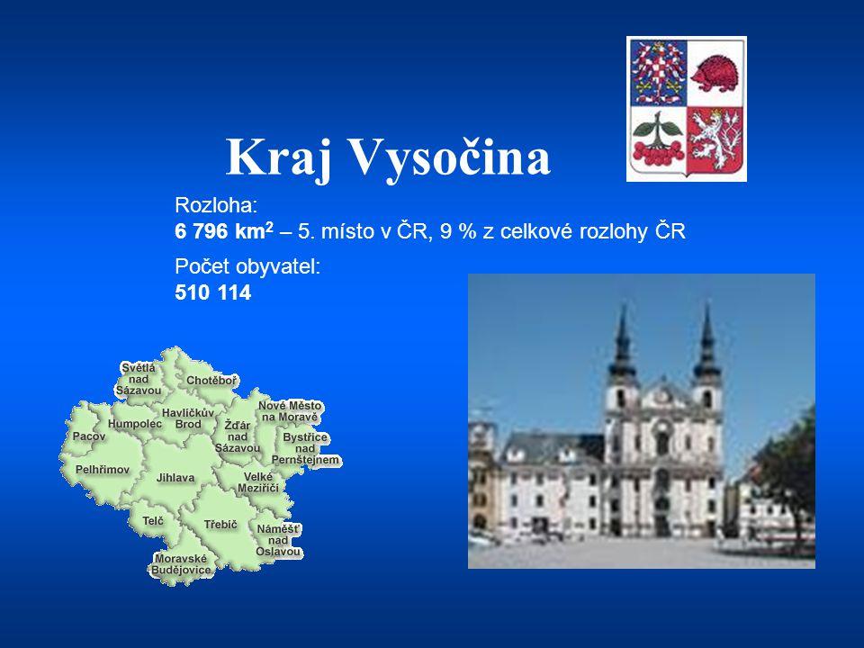 Kraj Vysočina Počet obyvatel: 510 114 Rozloha: 6 796 km 2 – 5. místo v ČR, 9 % z celkové rozlohy ČR
