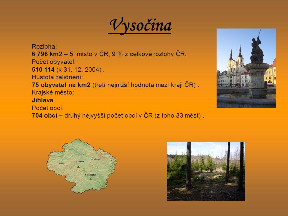 Vysočina Rozloha: 6 796 km2 – 5. místo v ČR, 9 % z celkové rozlohy ČR. Počet obyvatel: 510 114 (k 31. 12. 2004). Hustota zalidnění: 75 obyvatel na km2