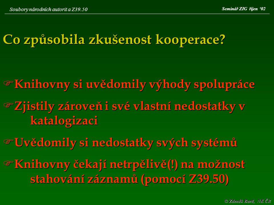 © Zdeněk Bartl, NK ČR Seminář ZIG říjen '02 Soubory národních autorit a Z39.50 Co způsobila zkušenost kooperace.