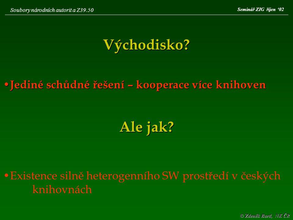© Zdeněk Bartl, NK ČR Seminář ZIG říjen '02 Soubory národních autorit a Z39.50 Volba  Protokol Z39.50  Schopnost překlenout SW nesourodost