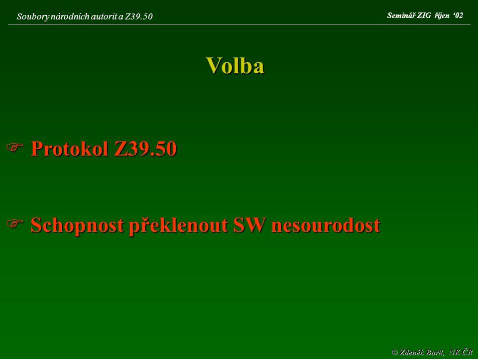 © Zdeněk Bartl, NK ČR Soubory národních autorit a kooperace on-line Seč ´02
