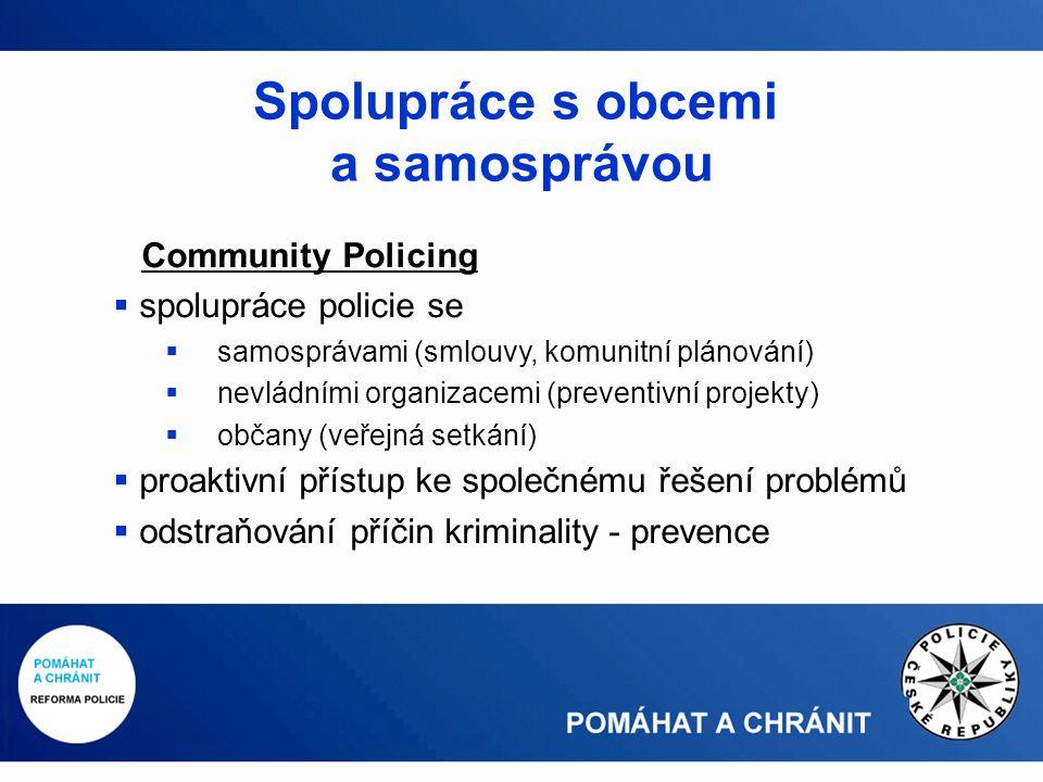 Community Policing  spolupráce policie se  samosprávami (smlouvy, komunitní plánování)  nevládními organizacemi (preventivní projekty)  občany (veřejná setkání)  proaktivní přístup ke společnému řešení problémů  odstraňování příčin kriminality - prevence Spolupráce s obcemi a samosprávou