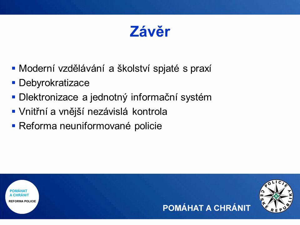 Závěr  Moderní vzdělávání a školství spjaté s praxí  Debyrokratizace  Dlektronizace a jednotný informační systém  Vnitřní a vnější nezávislá kontrola  Reforma neuniformované policie