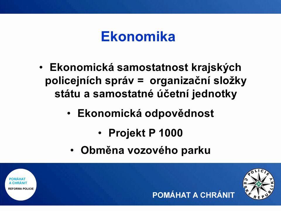 Ekonomická samostatnost krajských policejních správ = organizační složky státu a samostatné účetní jednotky Ekonomická odpovědnost Projekt P 1000 Obměna vozového parku