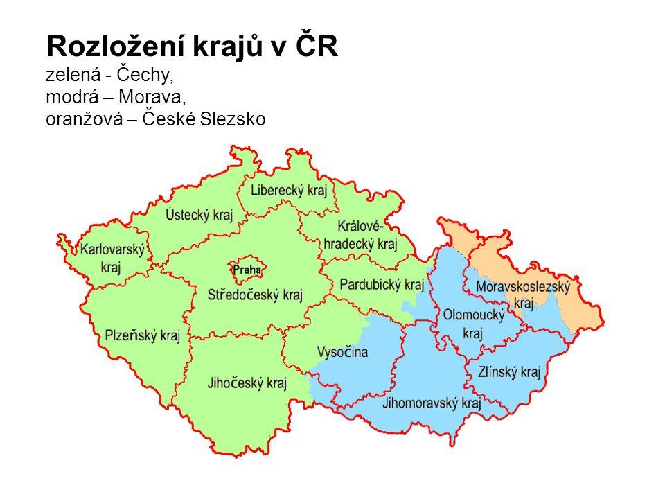 Rozložení krajů v ČR zelená - Čechy, modrá – Morava, oranžová – České Slezsko