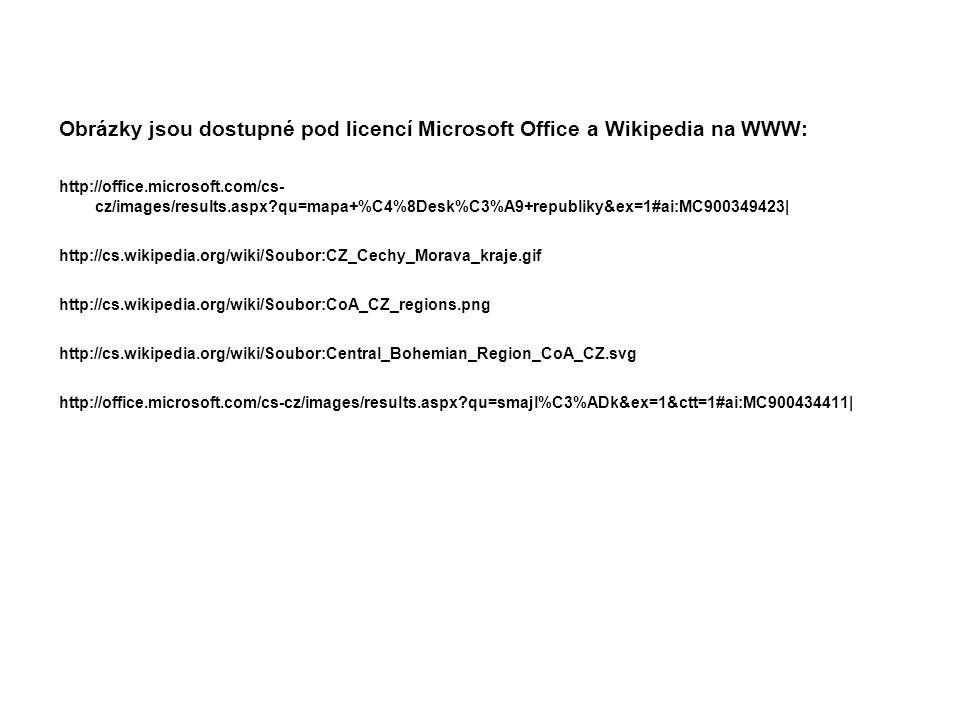 Obrázky jsou dostupné pod licencí Microsoft Office a Wikipedia na WWW: http://office.microsoft.com/cs- cz/images/results.aspx?qu=mapa+%C4%8Desk%C3%A9+