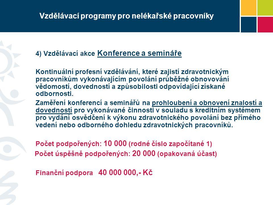 Vzdělávací programy pro nelékařské pracovníky 4) Vzdělávací akce Konference a semináře Kontinuální profesní vzdělávání, které zajistí zdravotnickým pr