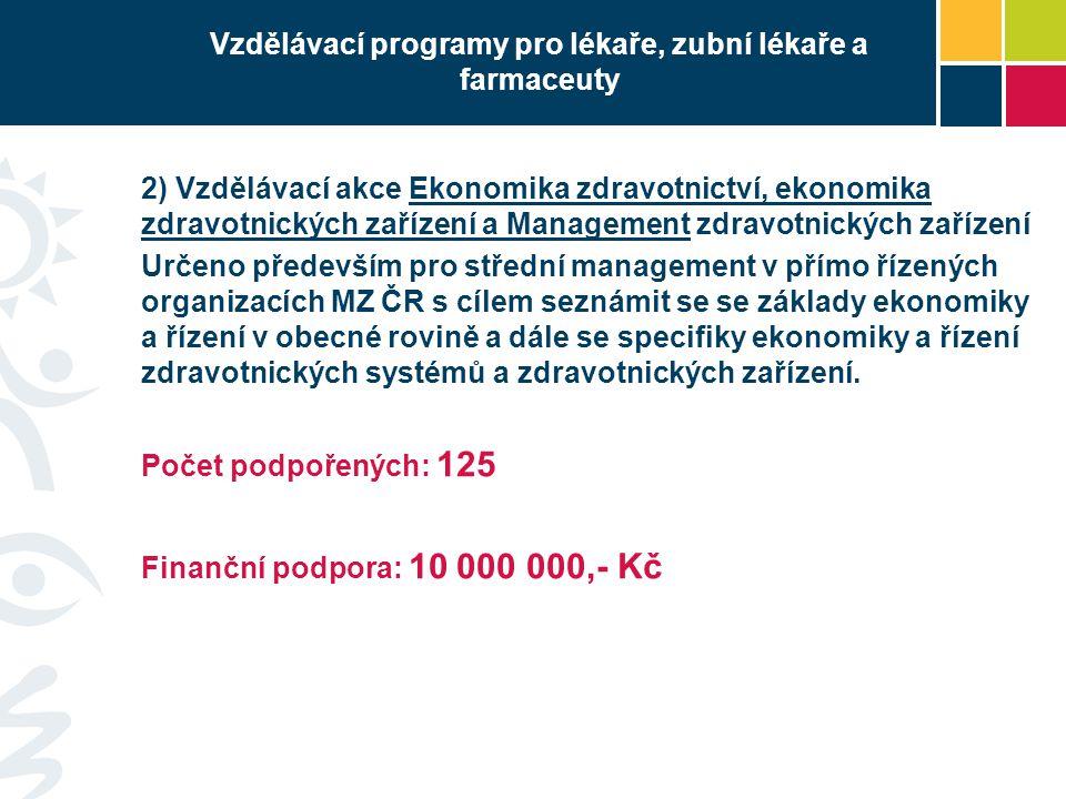 Vzdělávací programy pro lékaře, zubní lékaře a farmaceuty 2) Vzdělávací akce Ekonomika zdravotnictví, ekonomika zdravotnických zařízení a Management z