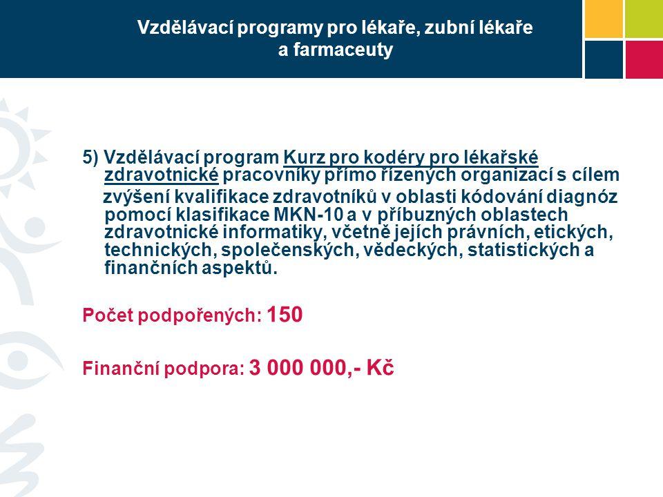 Vzdělávací programy pro lékaře, zubní lékaře a farmaceuty 5) Vzdělávací program Kurz pro kodéry pro lékařské zdravotnické pracovníky přímo řízených or