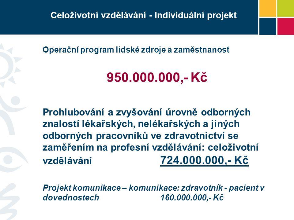 Celoživotní vzdělávání - Individuální projekt Operační program lidské zdroje a zaměstnanost 950.000.000,- Kč Prohlubování a zvyšování úrovně odborných
