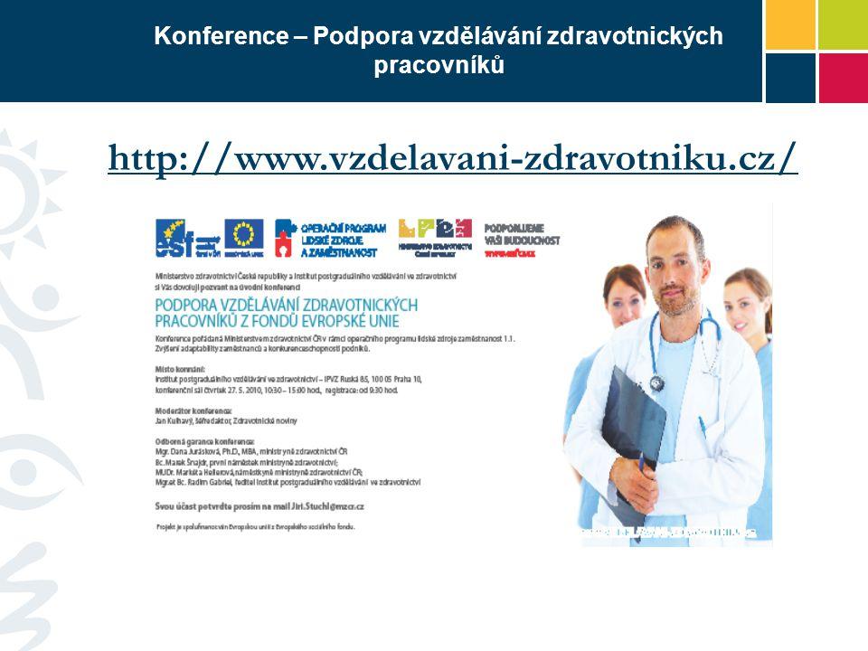 Konference – Podpora vzdělávání zdravotnických pracovníků http://www.vzdelavani-zdravotniku.cz/