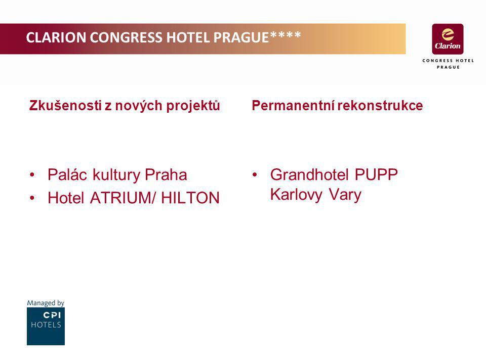 Zkušenosti z nových projektů Palác kultury Praha Hotel ATRIUM/ HILTON Permanentní rekonstrukce Grandhotel PUPP Karlovy Vary