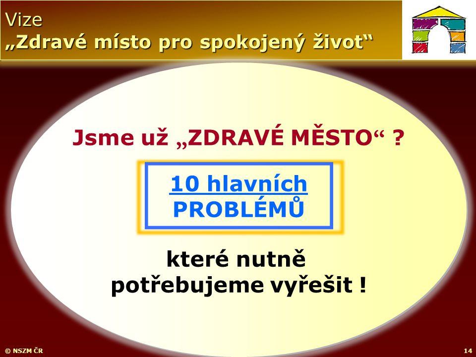 """Vize """"Zdravé místo pro spokojený život © NSZM ČR14 Jsme už """" ZDRAVÉ MĚSTO ."""