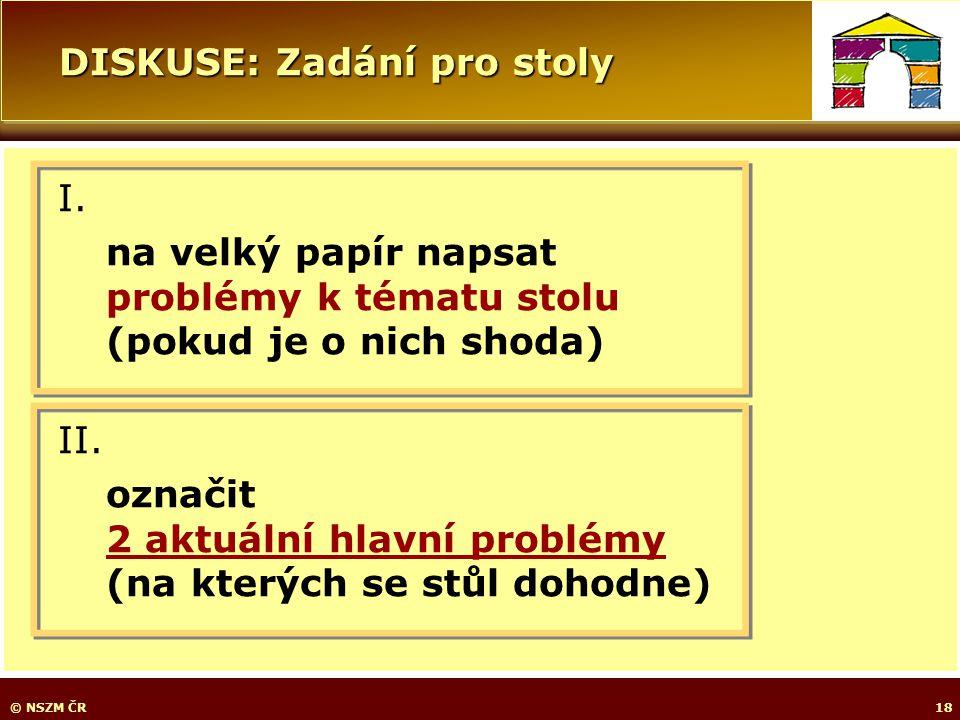 DISKUSE: Zadání pro stoly © NSZM ČR18 I.