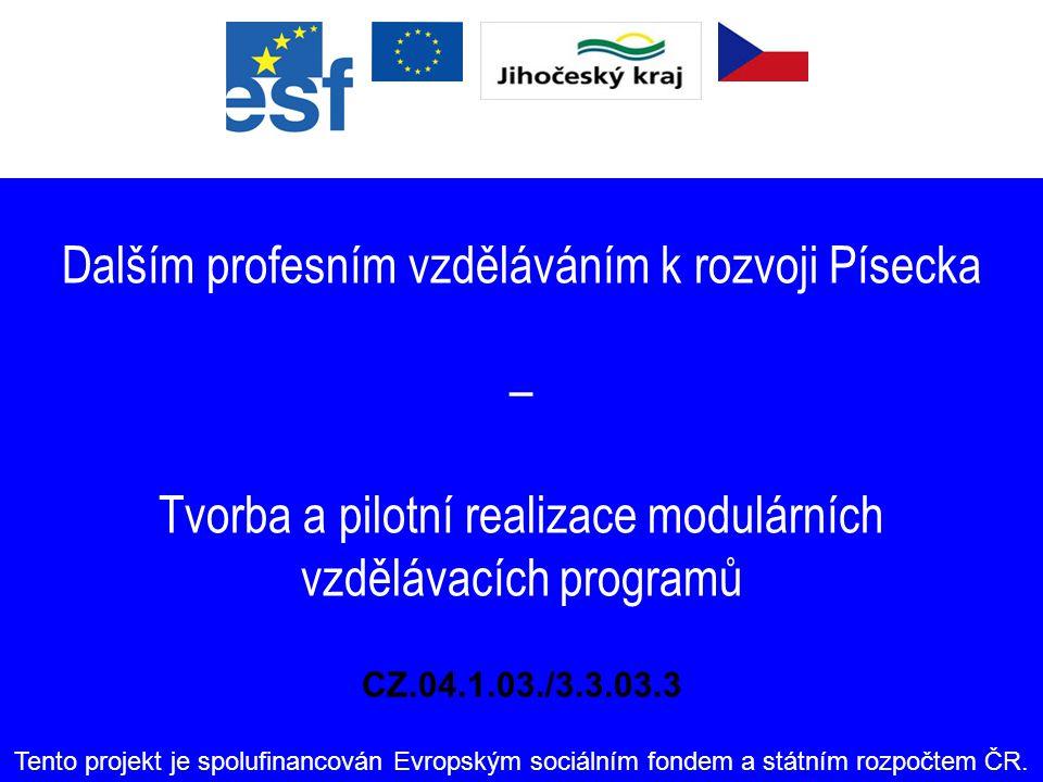 Dalším profesním vzděláváním k rozvoji Písecka – Tvorba a pilotní realizace modulárních vzdělávacích programů CZ.04.1.03./3.3.03.3 Tento projekt je spolufinancován Evropským sociálním fondem a státním rozpočtem ČR.