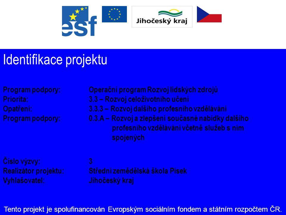 Kontakty Střední zemědělská škola Písek Čelakovského 200 379 01 Písek IČ: 60869054 www.szespisek.cz Tento projekt je spolufinancován Evropským sociálním fondem a státním rozpočtem ČR.