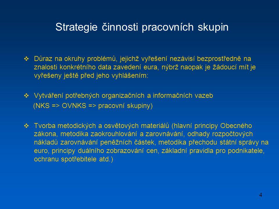 4 Strategie činnosti pracovních skupin  Důraz na okruhy problémů, jejichž vyřešení nezávisí bezprostředně na znalosti konkrétního data zavedení eura,