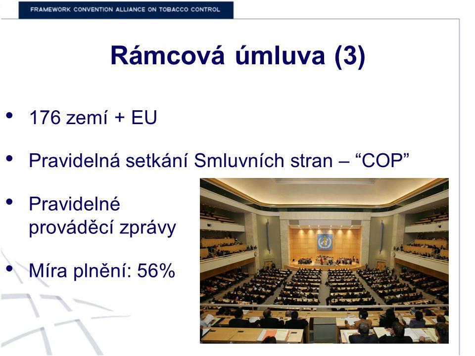 Rámcová úmluva (3) 176 zemí + EU Pravidelná setkání Smluvních stran – COP Pravidelné prováděcí zprávy Míra plnění: 56% 10