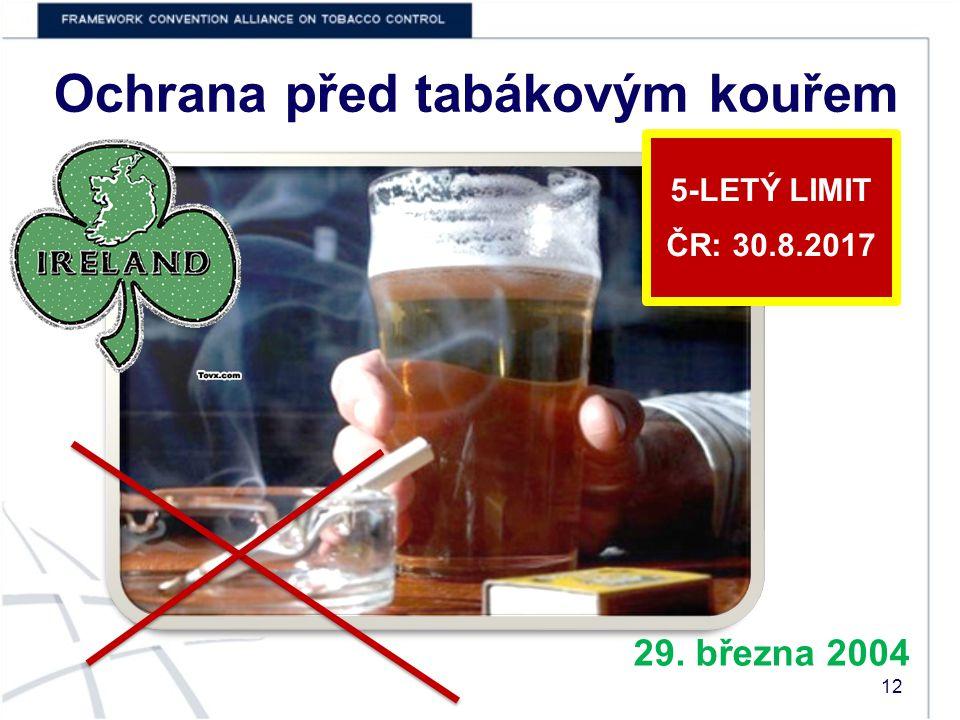 Ochrana před tabákovým kouřem 29. března 2004 5-LETÝ LIMIT ČR: 30.8.2017 12