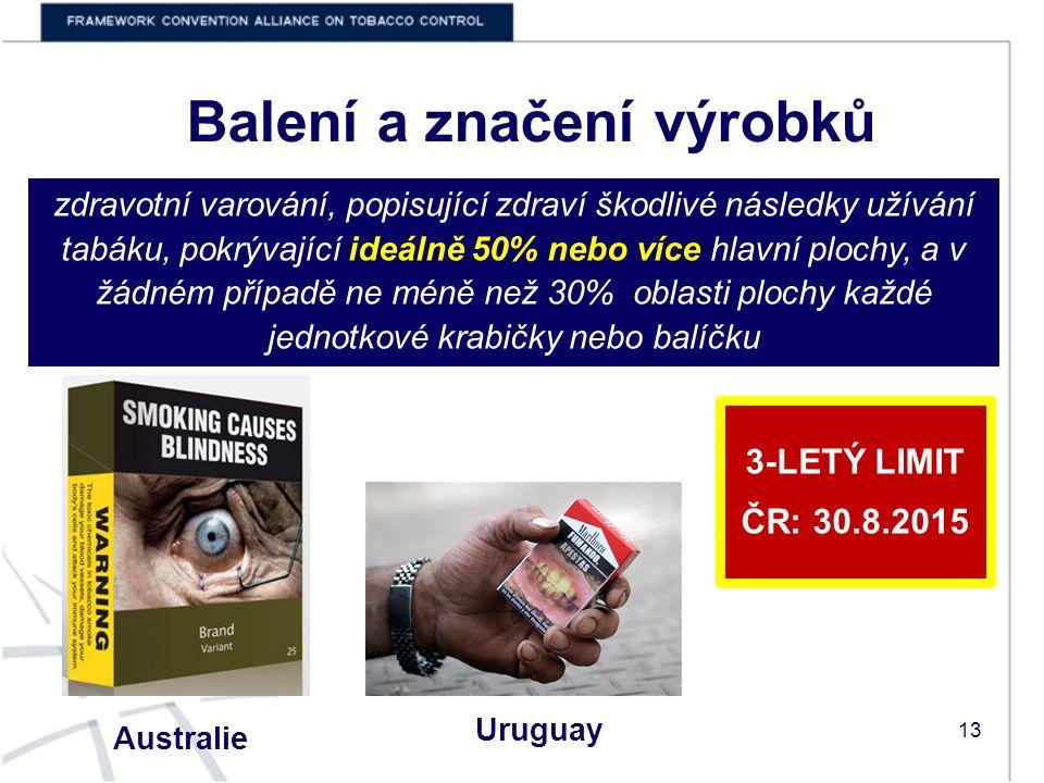 Balení a značení výrobků Australie Uruguay 3-LETÝ LIMIT ČR: 30.8.2015 zdravotní varování, popisující zdraví škodlivé následky užívání tabáku, pokrývající ideálně 50% nebo více hlavní plochy, a v žádném případě ne méně než 30% oblasti plochy každé jednotkové krabičky nebo balíčku 13