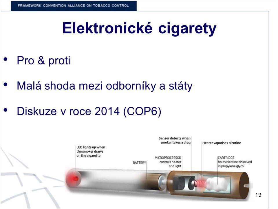 Elektronické cigarety 19 Pro & proti Malá shoda mezi odborníky a státy Diskuze v roce 2014 (COP6)